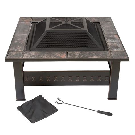 Square Firepit Cover Garden 32 In Steel Square Tile Pit With Cover M150074 The Home Depot