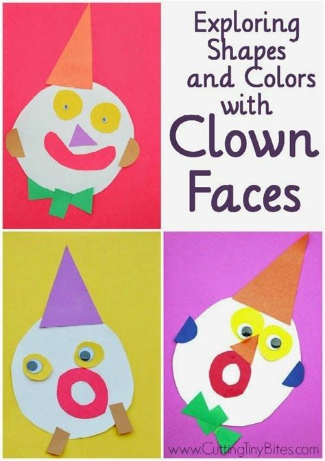 carnival themes for preschool exploring shapes and colors with clown faces face cut