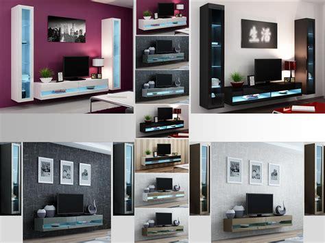 high gloss living room set  led lights tv stand wall mounted cabinet ebay