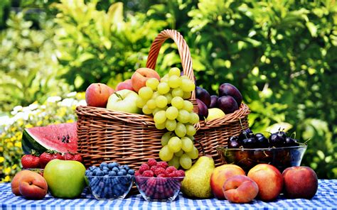 nature food fruits basket grape strawberry apple watermelon blueberry cherry nature food delicious