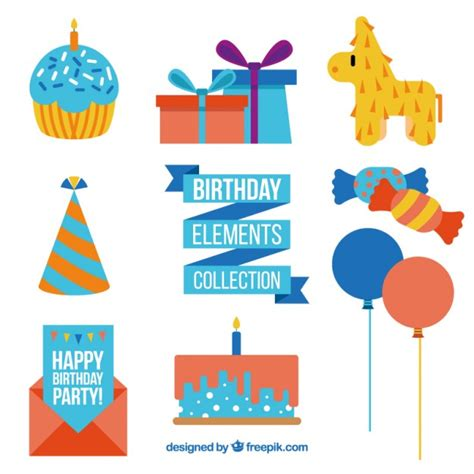 happy birthday flat design cute birthday decoration in flat design vector free download