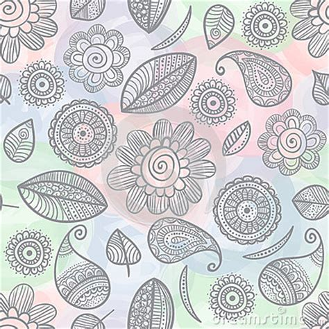 doodle pattern background flower doodles watercolor seamless pattern royalty free