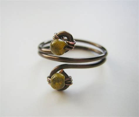 wire and bead rings bronze wire wrapped ring with green size 8 by