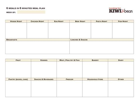 meal planner template google docs planner template