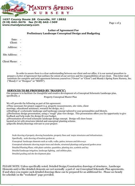 Contract Letter Exles Letter Of Agreement Free Printable Documents