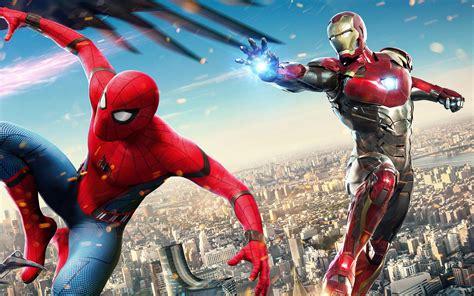 wallpaper iron man spider man homecoming hd