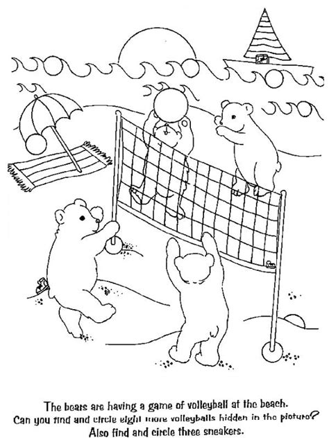bears playing volleyball coloring page  print