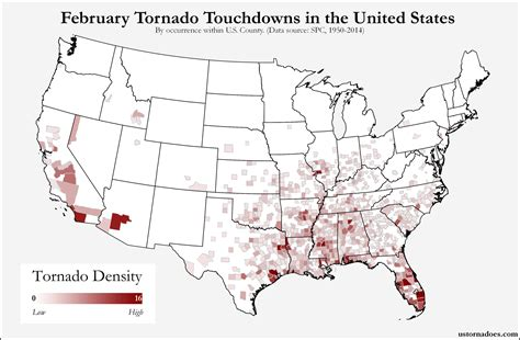 map usa states forms here s where tornadoes typically form in february across