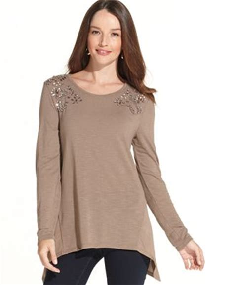 Get And Beyonces Look With This Embellished Hem Top by Style Co Embellished Handkerchief Hem Tunic Tops