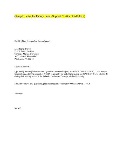Support Letter From Parents For Partnership Visa 40 proven letter of support templates financial for