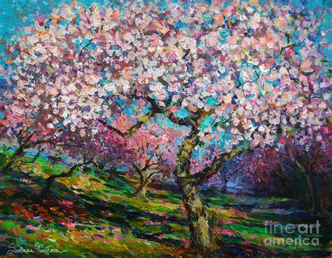 spring paint impressionistic spring blossoms trees landscape painting