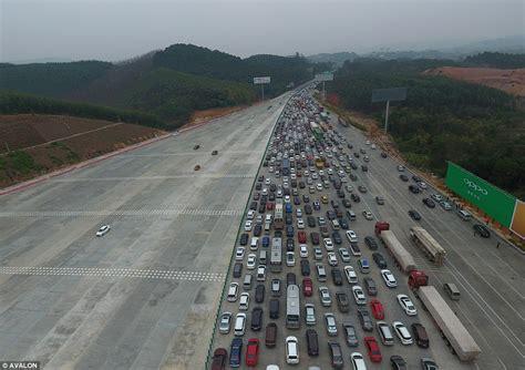 thousands of motorists stranded in beijing traffic jam