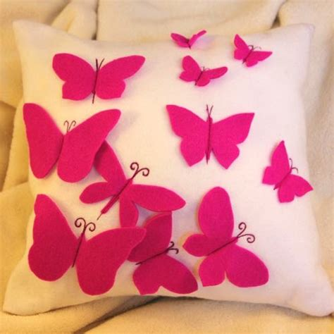 Handmade Cushion Covers Ideas - 12inch white and pink felt butterfly cushion covers