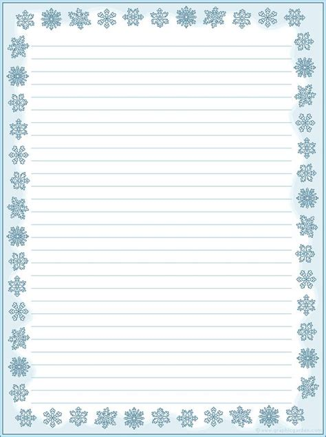 printable snowflakes stationery paper http www graphicgarden com files17 graphics print