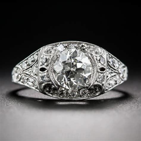 90 carat deco platinum and engagement ring