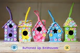 kid craft ideas buttoned up easy birdhouse craft mod podge rocks