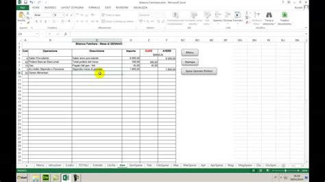 gestione spese casa excel excel bilancio familiare e gestione conto corrente
