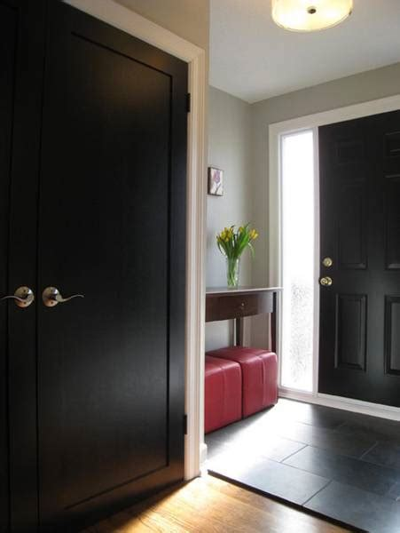 black interior  exterior doors creating brighter