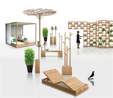 wooden outdoor furniture designs by deesawat green wall