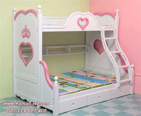Tempat Tidur Anak Atas Bawah tempat tidur tingkat pink putih anak perempuan