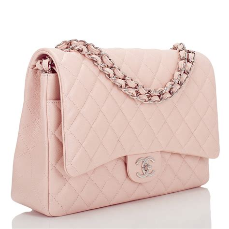 40655 25 Handbag Pearl Pink chanel light pink quilted caviar maxi classic flap