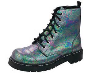 slick metallic leather 7 eye boots t u k shoes