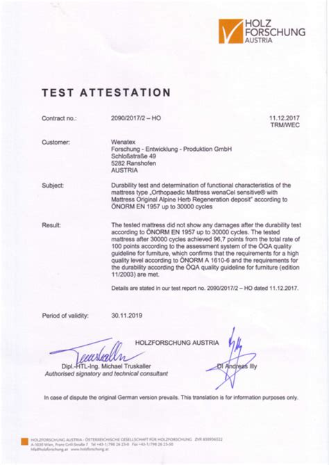 wenatex matratze test awards and certificates