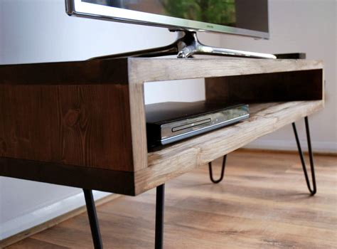 tv bench unit vintage retro box tv stand w metal hairpin legs solid