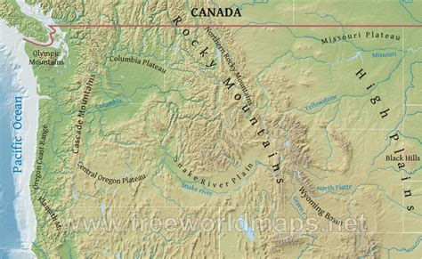Cascade mountains physical map sn7lm8gl