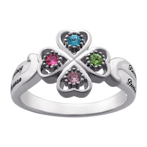 sterling silver personalized name birthstone ring