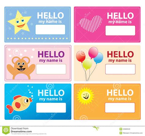 Children S Name Card Templates by Children Name Cards Stock Illustration Illustration Of
