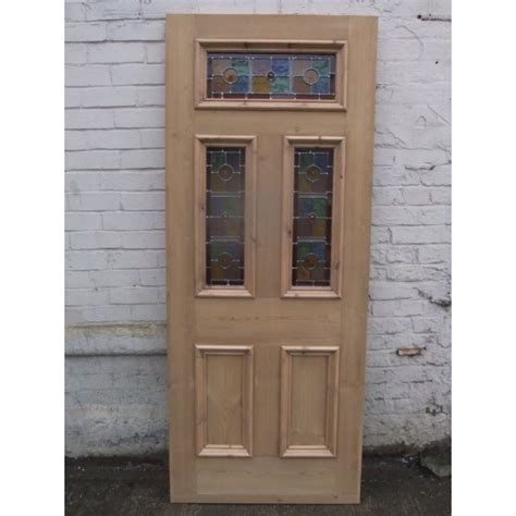 Sd071 Exterior 5 Panel Door With Vibrant Stained Glass Front Door Glass Panels