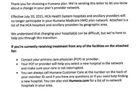 Humana Letter Of Agreement Hca Hospitals Humana In Contract Dispute Health News Florida