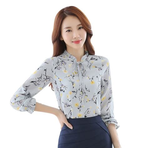 Blouse Fashion new shirt chiffon blouse sleeve casual fashion print floral tops s