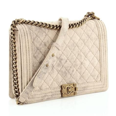 Chanel Large Quilted Boy Flap Bag by Chanel Boy Flap Bag Quilted Distressed Suede Large For