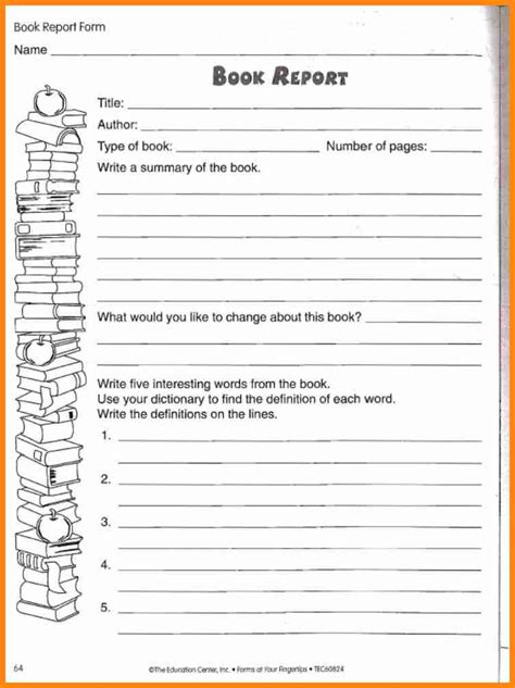 2nd Grade Book Report Forms by 5 4th Grade Book Report Template Driver Resume