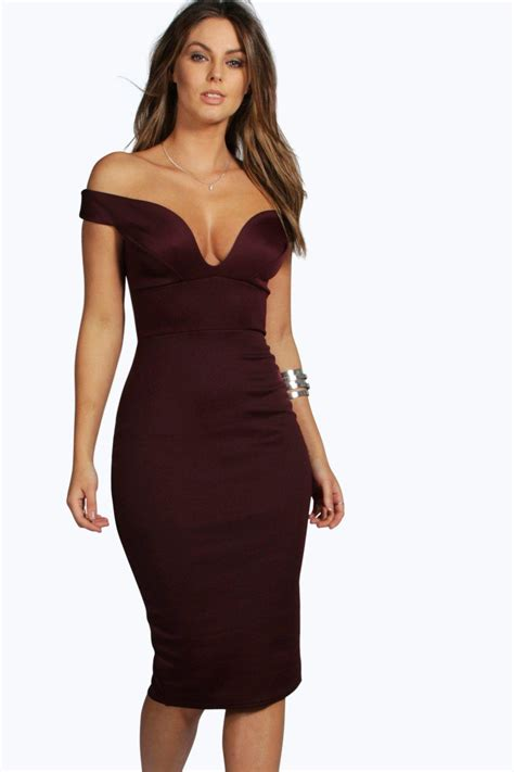 Dres Offshoulder sweetheart shoulder bodycon dress at boohoo