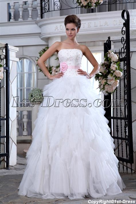 casual wedding dress pink ivory and pink ruffled strapless casual wedding dresses
