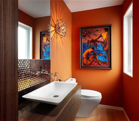 orange powder room cheerful enliven your powder room with a splash of