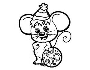 Mouse With Christmas Hat Coloring Page  Coloringcrewcom sketch template