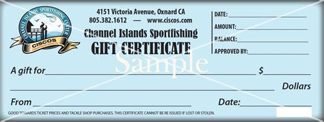 fishing gift certificate template channel islands sport fishing gift certificates