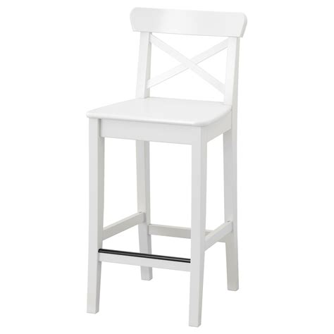 White Bar Stool Chairs Ingolf Bar Stool With Backrest White 63 Cm Ikea
