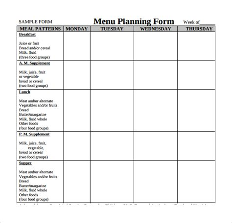 menu planning template free sle menu planning template 9 free documents in pdf word