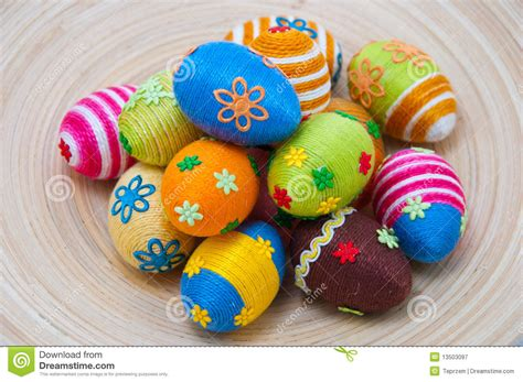 Easter Eggs Handmade - pile of easter eggs on wood royalty free stock photography