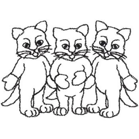 animals embroidery design three little kittens outline
