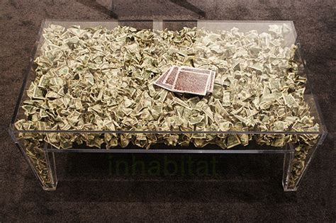 Money On A Table brc designs unveils its money table filled with 787 real dollar bills at icff brc money table
