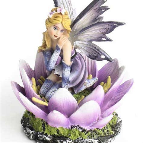 Delicate Purple Flower Fairy Figurine   Table Decor   Home