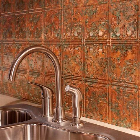 Fasade Kitchen Backsplash Panels Fasade 24 In X 18 In Traditional 10 Pvc Decorative Backsplash Panel In Copper B57 11