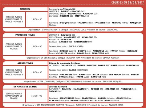 Calendrier 8 Avril Calendrier Course Camarguaise 7 8 Et 9 Avril 2017