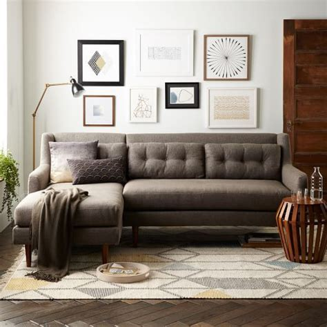 crosby sofa with chaise crosby mid century 2 chaise sectional house